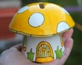 Mushroom money box in sunny yellow magical hand painted china money box fairy house pixies fairies
