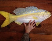 "Yellowtail Snapper 24"" wooden saltwater fish chainsaw carving original Todd Lynd wildlife art fishing wall mount indoor outdoor home deocr"