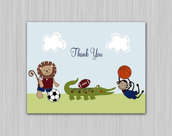 Team Safari/Sports Animals/Monkey/Soccer/Lion/Alligator/Football/Basketball Digital Baby ShowerThank You Card Folded U Print yourself