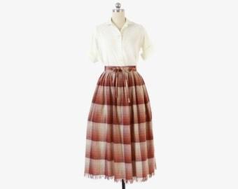 Vintage 60s PLAID SKIRT / 1960s Lightweight Burgundy Plaid Wool Bow Belt Fringe Full Skirt S