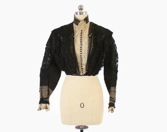 VICTORIAN Lace BLOUSE / Vintage High Neck Black Lace Silk Bodice XS - S
