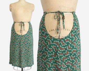 Vintage 40s MATERNITY SKIRT / 1940s Green & Red Hashtag Print Rayon Skirt