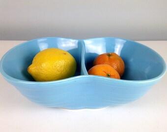 Marcrest Ovenproof Divided Serving Bowl in Blue, Marcrest Stoneware, Divided Dish