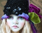 Black With Purple Flapper Style Cloche Hat For Ball Jointed Dolls