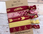 Boutique Hair ties FSU garnet and gold 5 pack - Seminoles