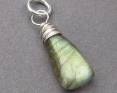 Labradorite Pendant, Sterling Silver Wire Wrapped Pendant, Interchangeable Pendant Jewelry, Labradorite Charm, Necklace Pendant, Stone 183