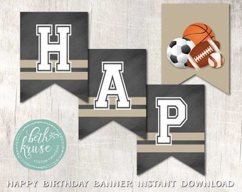 Sports Party Happy Birthday Banner - Game Face - INSTANT DOWNLOAD by Beth Kruse Custom Creations