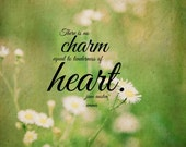Charm quote Jane Austen nature Emma print Woman art literary Equal tenderness heart design Literature Writer author wall decor