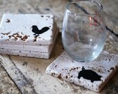 Farm Animal Drink Coasters - Set of Four / Natural Tumbled Marble / Handmade Custom Hand Painted / Rustic Farmhouse Home Decor