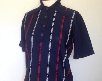 Vintage Towncraft Penneys mod shirt, 1960s retro polyester, navy blue red white, short hem crop top, Rudegirl northern soul, size 38 bust