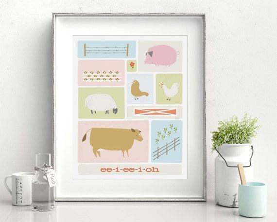 Farm Animal Art Print, Nursery Art Print, Animal Print, Nursery Decor // ON THE FARM