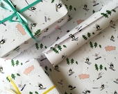 Penguin & Shark Go Skiing Wrapping Paper