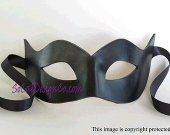 Womens Masquerade Mask - Black - Leather Mask - Halloween Mask - Masquerade Mask - Leather Masks – Venetian Mask – Blue Leather Mask