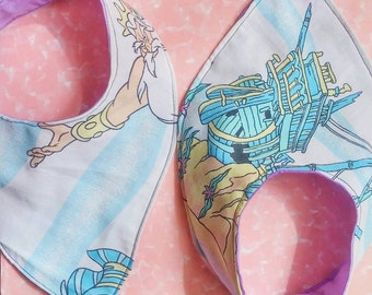Little Mermaid Bandana baby bib SET OF 2 upcycled vintage style
