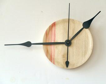 Flame Box Elder, Big Hands Clock, Wall Decor, Turned Wood Clock