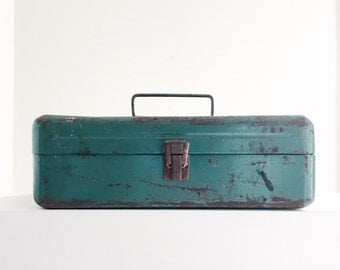 "Distressed Rusty Metal Tackle Box Turquoise Color Vintage Victor 13"" Inch Storage Box Rustic Decor For The Man Cave Reclaim Upcycle Salvage"