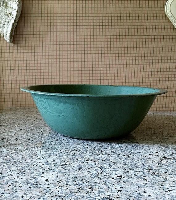 Farmhouse green enamel pan large metal wash tub round dish tub for Large metal wash tub