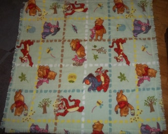BaBy BlanKet WINNIE the POOH double fleece,light green with fringe 36X38 very soft and quilted
