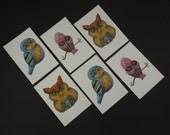 Owl Stickers - Six Sticker Set - Pastel - Monkey Brains Design