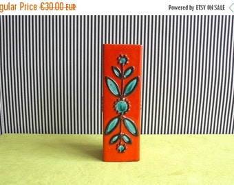 Summersale Mid Century Modern West German Pottery Vase by Bay in Orange and Turquoise