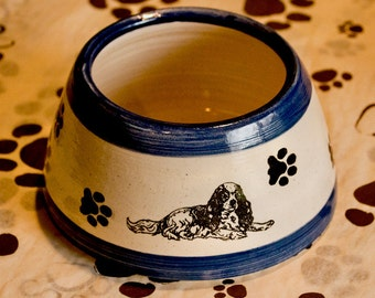 Cavalier Spaniel FOOD Ear Bowl with Blue Stripes (Small)