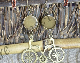 6pcs Unique new style Antiqued bronze  Earwires Hook With Round Cabochon Pad,bicycle Beautiful Detail, Earrings hook,earring finding base