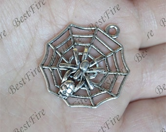 10 pcs Charms Large Spiderweb Charms Antique Silver Tone,spider pendant,spider beads findings