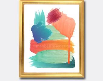 Abstract Watercolor Printable Art - Coral and Teal Art - Coastal Art