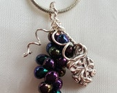 Wire Wrapped Beaded Grape Harvest Jewelry Set 2
