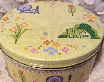 AUTUMN SALE Vintage Spinning Wheel Tin Container Yellow Yarn Knit Crochet
