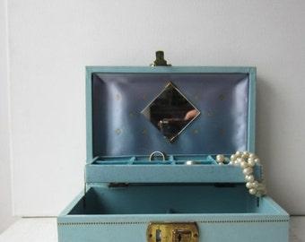 ON SALE Vintage Mid Century Blue & Aqua Jewelry Box with Mirror