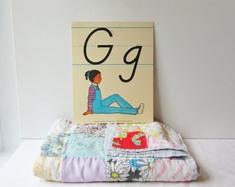 ON SALE Vintage 'G' Classroom Poster / Flashcard - Very Sweet for Nursery Wall Art