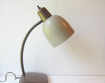 ON SALE SALE Vintage Goose  Neck Desk Lamp - Neutral - Taupe - Brown - Home / Office - Industrial Light - Task Light