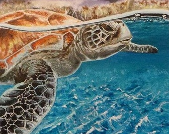 Turtle painting using acrylics on canvas