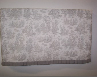 Pleated Custom Valance, Gray -- Black -- or Chocolate Toile Window Treatment, Toile Curtain