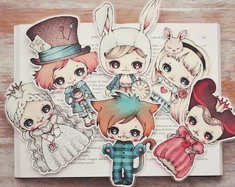 Alice in Wonderland - set of bookmarks - made to order