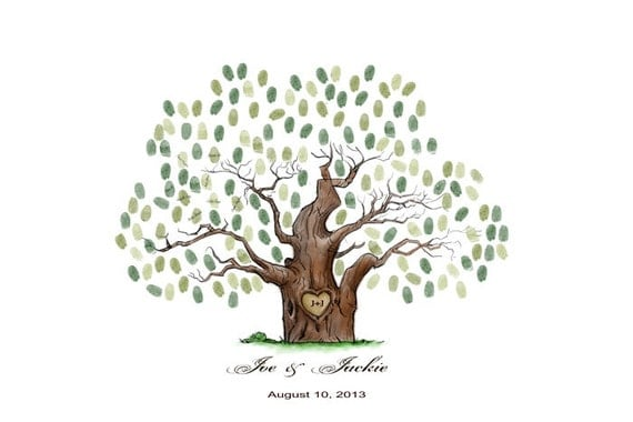 Wedding Tree Guest Book Print--  To Be Personalized With Guest's Fingerprints - 13x19 -With 1 ink pads