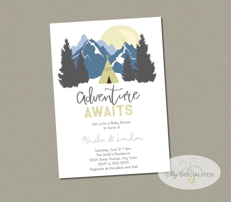 mountain invitation | etsy, Baby shower invitations