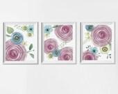 Flower Nursery Art Prints Watercolor Style, Nursery Art Purple Lavender Girl, Baby Watercolor Flower Nursery Art, Woodland Flowers Nursery