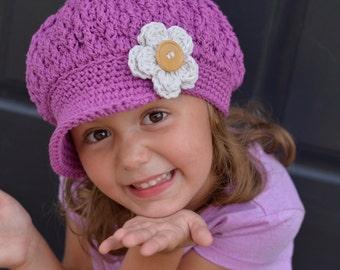 Purple Crochet Newsboy Hat for Kids, Crochet Newsboy Hat, Little Girl Newsboy Cap, Women's Crochet Newsboy Hat, Hats for Girls, Women's Hat