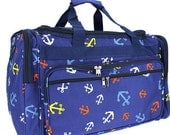 """Personalized 22"""" Duffle Bag- BLUE with Anchors NAUTICAL DUFFLE  Gym Bag"""