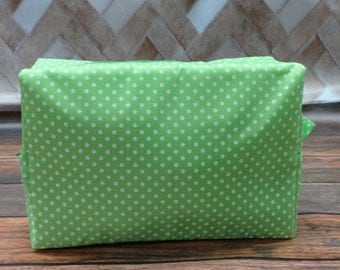 Personalized Large Cosmetic Bag  TOILETRY BAG Makeup Bag   Lime Green