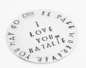 Hand Stamped Token Be Safe Wherever You May Go Pocket Love Token Military Deployment German Silver Keepsake Coin Memento Soldier USA Flag