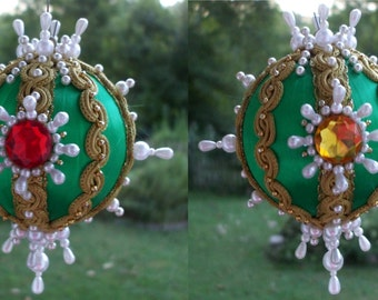 "Handmade Green Christmas Ornament Vintage 3"" Ball Pearls Red Gold Gems Jewels Faceted Gold Trim Satin OOAK Victorian"