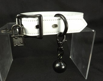 Bondage Collar Locking Collar Slave bell Collar mature Bdsm collar white leather collar choker locking restraints