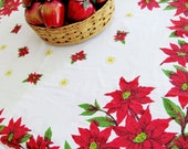 Vintage Tablecloth Christmas 52 x 66 Inches Tastemaker By Stevens Easy-Care Cotton Polyester Red Poinsettia