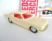 1965 Ford Mustang Fastback Toy Car 10 3/4 Inch Plastic Push Car White Red Interior Display Model