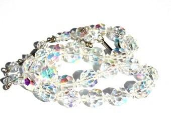 Cut Glass Choker- Aurora Borealis- Single Strand- 1950's Fashion- Crystal Necklace- AB Necklace- Graduated Sizes- Bridal Necklace- Prom