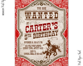 Wild West Invitation, Vintage Cowboy Party, Western, Country Style, I will customize for you, Print Your Own