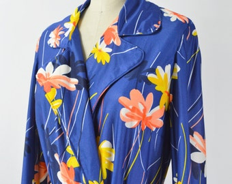 1970s Floral Robe Womens Size Medium Polyester Robe Retro Blue and Orange and Yellow Flowers